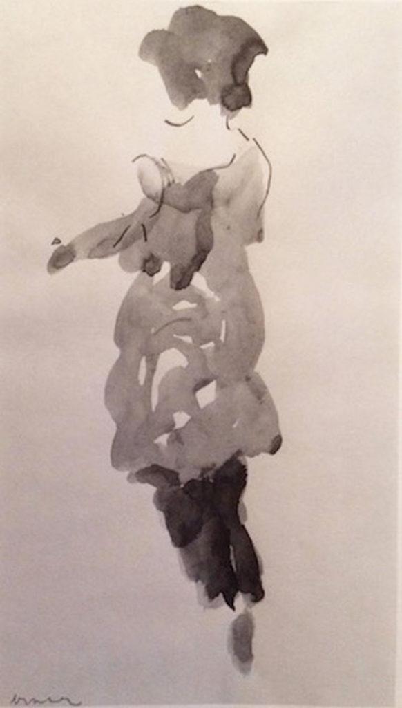 Danseuse, encre et crayon
